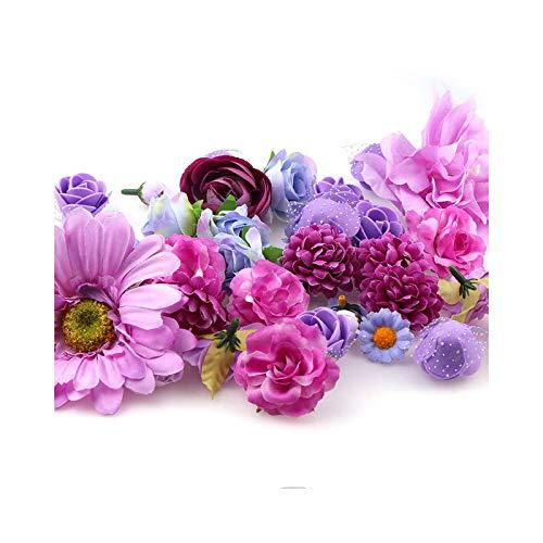 Fake Flower - Lote de 50 cabezas de flores artificiales mixtas de seda para bodas
