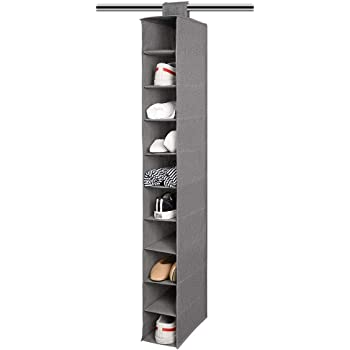 Perfect for Storage Shoes Aoolife Hanging Shoe Organizer Handbags 10 Shelf Fabric Hanging Closet Shoe Storage Organizer Toys and More Hats Socks,Scarves Grey-1 Pack XW-Trade