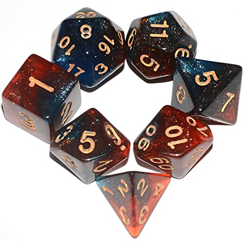 Glitter DND Dice Set| Blue Mix Red Galaxy Polyhedral Dice Set for Dungeons and Dragons Pathfinder RPG Board Game