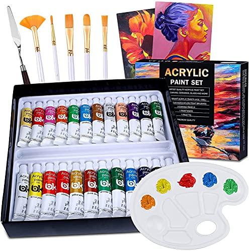 24 Tubos Pinturas Acrílicas para Pintar, Myada Juego de Pinturas Acrílicas, Paquete de 24 x 12 ml, 5 Pinceles, 2 Tableros de Dibujo, 1 Raspador, 1 Paleta, No Tóxicos para Principiantes o Niños