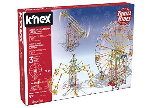 K'Nex Thrill Rides 3in1 Laufstall Attraktivitäten: Noria + Fliegende Stühle + Pendel Bausatz mit Motor Knex 3 in 1 744 Teile (Spielzeugfabrik 41230)