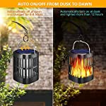 Ollivage Outdoor Solar Lanterns Dancing Flame Outdoor Hanging Lanterns Lights Solar Powered and USB Charging Torch Light Waterproof Auto Sensor for Garden Patio Yard, 1 Pack Auto On Off from Dusk To Dawn Day