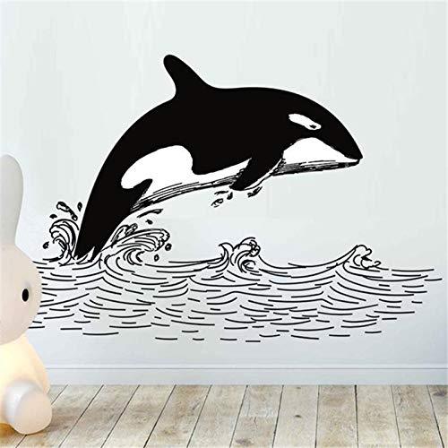 Ajcwhml Orca Wandaufkleber Wal Welle Zeichnung Wandtattoo Dekoration für zu Hause entfernbare Vinyl Aufkleber schwarz und weiß Wandkunst Aufkleber - 67X40CM
