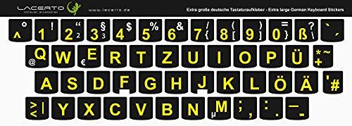 Lacerto® | Extra grote tekens, Duitse toetsenbordsticker voor slechtzienden en senioren, met mat beschermend laminaat für Lenovo zwart