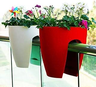 Antier Plastic Railing Planter, Multicolour, 2 Pieces