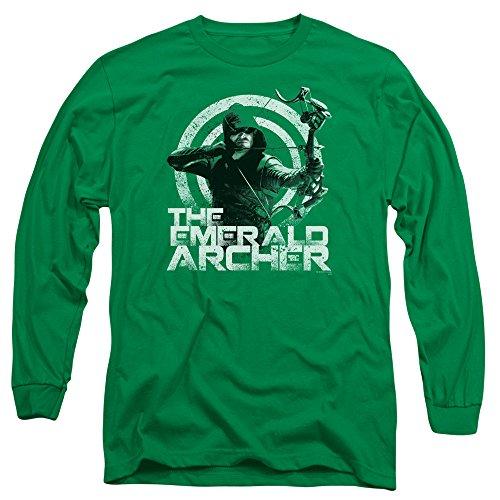 Green Arrow - Archer à manches longues pour hommes T-shirt, X-Large, Kelly Green