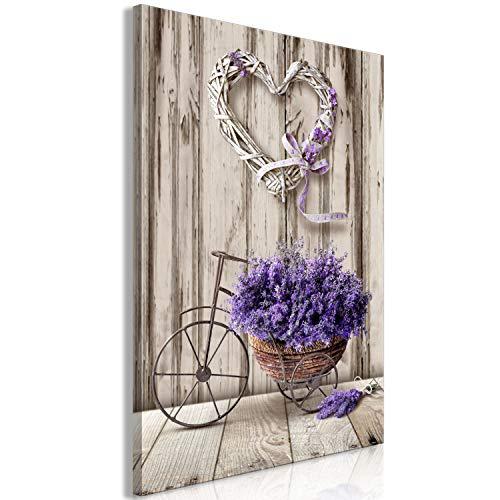 murando - Bilder Blumen 40x60 cm Vlies Leinwandbild 1 TLG Kunstdruck modern Wandbilder XXL Wanddekoration Design Wand Bild - Lavendel Holzoptik Fahrrad Herz b-C-0643-b-a