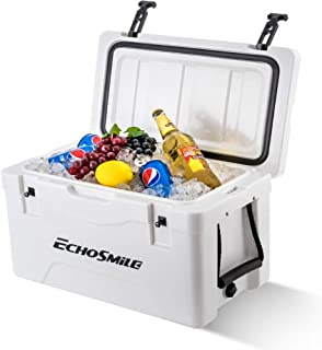 EchoSmile 40 Quart Ice Chest Rotomolded Cooler Box, Portable Beach Cooler with Durable Handles, Ice Cooler for Dry Ice, Great Gift for Outdoor Golf, Camping, Picnic, Sea Fishing