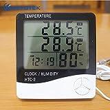 YITEJIA versátil Medidor de Humedad de la Temperatura del LCD Digital termómetro higrómetro electrónico de extensión del Tiempo de Inicio de Interior al Aire Libre Reloj HTC-2