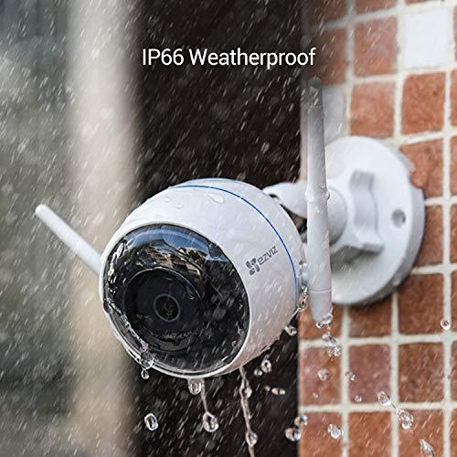 EZVIZ ezTube 1080p Telecamera di Sorveglianza Esterna, Telecamera di Sicurezza Visione Notturna, Audio a 2 Vie, IP66 Antipolvere e Impermeabile, Stroboscopo e Sirena, Cloud, Compatibile con Alexa