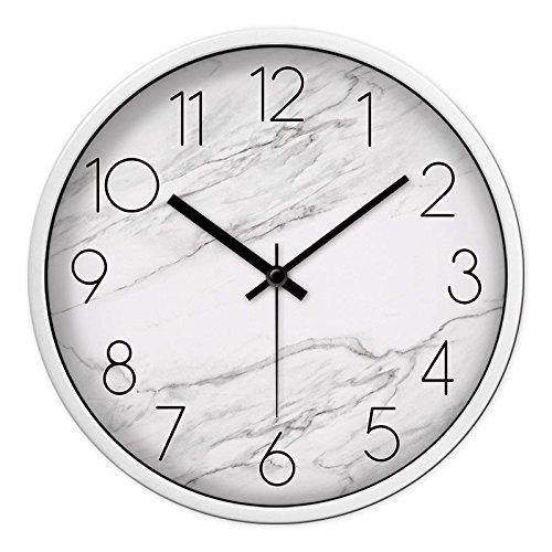 Wall Clock WERLM Persoonlijkheid Design Home Decor Clock Art Landschap Water Wandklok ideaal voor thuis keuken kantoor school ideaal voor elke kamer, zilver, 14 inch