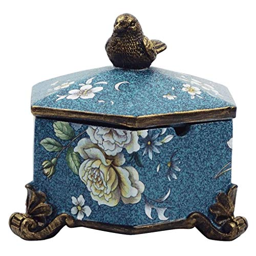 ZYL-YL Cendrier chinois rétro en résine de haute qualité hexagonal peint cendrier maison table basse décoration avec couvercle (couleur : bleu)
