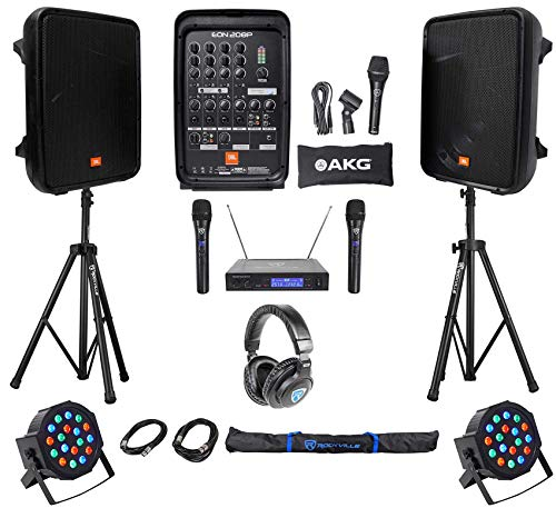 JBL EON208P 8' Powered Bluetooth Speakes+Mixer+Stands+Wireless Mics+Headphones
