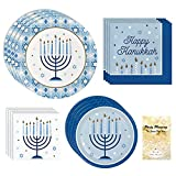 Hanukkah Party Supply Pack, Menorah Design, Blue White and Gold, 16 Guests, 65 Pieces, Disposable Paper Dinnerware, Plate and Napkin Set