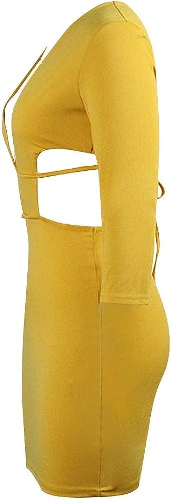 Club Dresses for Women Deep V Neck Long Sleeve Halter Backless Mini Dress Splice Bodycon Sexy Short Party Dresses