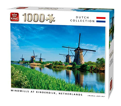 KING 55885 Windmills Kinderdijk Olanda Puzzle 1000 pezzi, a colori, 68 x 49 cm