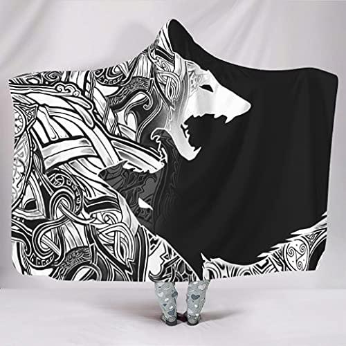 Wandlovers Sudadera con capucha, diseño de lobo vikingo, supersuave, con capucha, color blanco, 150 x 200 cm