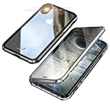 Jonwelsy Kompatibel für iPhone XR (6,1 Zoll) Hülle, 360 Grad Vorne und Hinten Gehärtetes Glas Transparente Case Cover, Stark Magnetische Adsorption Metallrahmen Handyhülle für iPhone XR