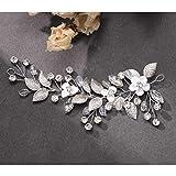 Mayelia - Diadema de cristal para novia, diseño de hojas plateadas, para mujeres y niñas