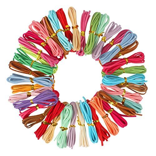 Dadabig 60Metros 3MM Cuerda Collar Cuero para Pulseras, Cordon Cuero para Colgante, Cuerda de Cuero Gamuza Artificial para Pulseras Collar y Envolver Regalos (30 colores)