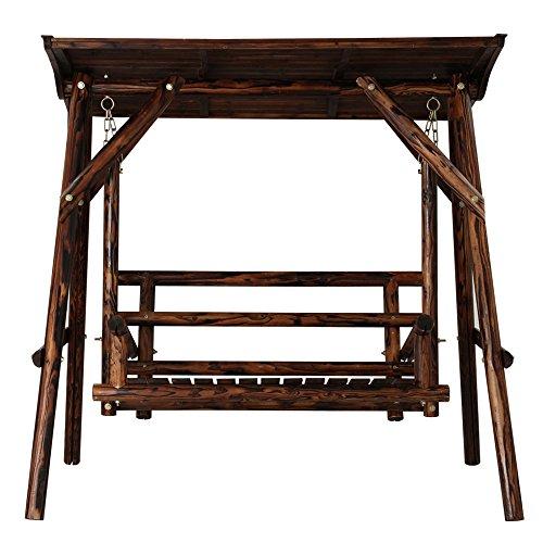 ぼん家具 ブランコ 木製 屋根付き 2人用 庭 ガ...