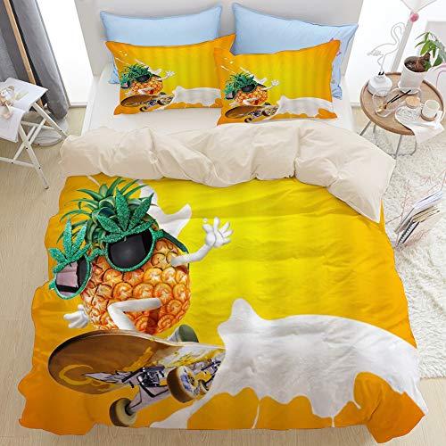 PONIKUCY Bedsure Bettwäsche 135x200cm,Karikatur Ananas Tropische Frucht, die über Milch für Kindergelb Orange Skateboard fährt,microfaser Bettbezüge Kissenbezug 2(50x80cm)
