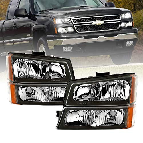 AmeriLite for 2003-2006 Chevy Silverado 1500HD 2500HD 3500 / Avalanche Pickup Black Replacement Headlights Assembly w/Bumper lamp Set - Driver and Passenger Side