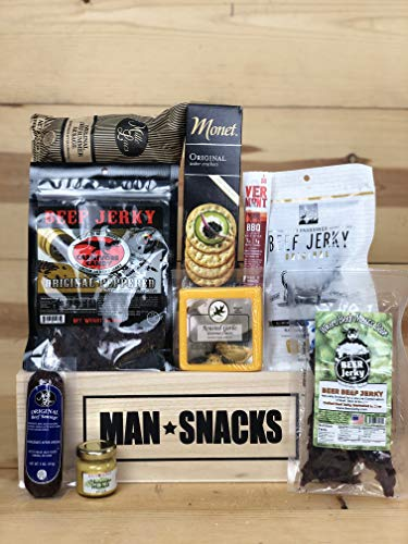 ManSnacks - BEEF BEEF BEEF - A manly assortment of beef jerky, sausage and grub for the meat lover, packed in a manly wooden gift box. It's a gift basket for real men.
