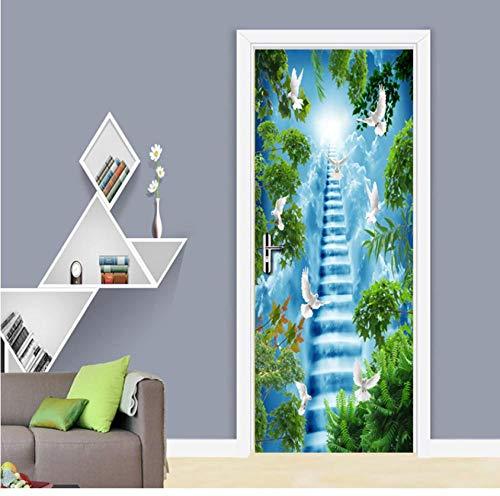 Creative Ladder Bird Blue Sky 3D Wallpaper Deur Sticker Huisdecoratie Waterdicht Duurzaam Milieuvriendelijk Zelfklevend 85 * 200cm