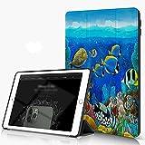 She Charm Carcasa para iPad 10.2 Inch, iPad Air 7.ª Generación,Mar Fondo Marino Peces Corales Submarino Océano Tropical,Incluye Soporte magnético y Funda para Dormir/Despertar
