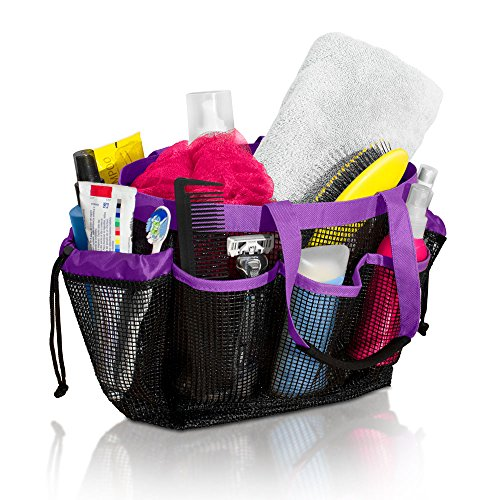 Simply Things Heavy Duty Mesh Shower Bag Caddy and Tote with 9 Storage Compartments and 2 Reinforced Handles, This Mesh Shower Bag is Quick Drying for Dorm, Gym, Camping, or Travel (purple)