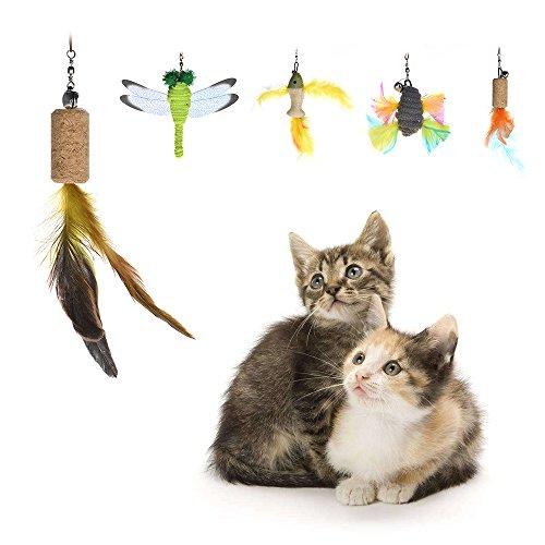 Decdeal 5 Stück Katzenangel Ersatzfedern in Kreativem Form für Katzenspielzeug