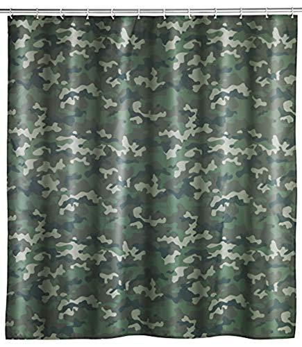 WENKO Duschvorhang Camouflage - Textil , waschbar, wasserabweisend, mit 12 Duschvorhangringen, Polyester, 180 x 200 cm, Mehrfarbig