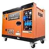 DeTec. DT-6000SE-1-1 fases Diesel Generador de corriente de emergencia 230 V 5500 W con ruedas