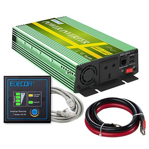 EDECOA Pure Sine Wave Power Inverter 1000W DC 12V to 240V AC Converter 2...