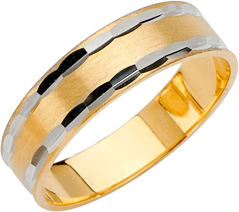 Sonia Jewels 14k Gold Round Cubic Zirconia White and Yellow Ring Two Tone 6MM Diamond-Cut Tapered Anniversary Wedding Band