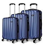 <span class='highlight'>Kono</span> Fashion Travel <span class='highlight'>Luggage</span> Set <span class='highlight'>of</span> 3 <span class='highlight'>Piece</span> Hard Shell Light Weight ABS Suitcase with 4 <span class='highlight'>Spinner</span> Wheels (Navy)
