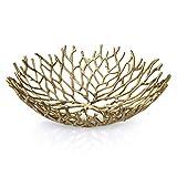 Kaloogo® Obstschale/Brotkorb/Dekoschale aus Metall 42cm (Gold)