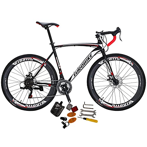 Eurobike Road Bike XC550 21 Speed 54 cm Frame 700C Wheels Road Bicycle Dual Disc Brake Bicycle Black-White 60