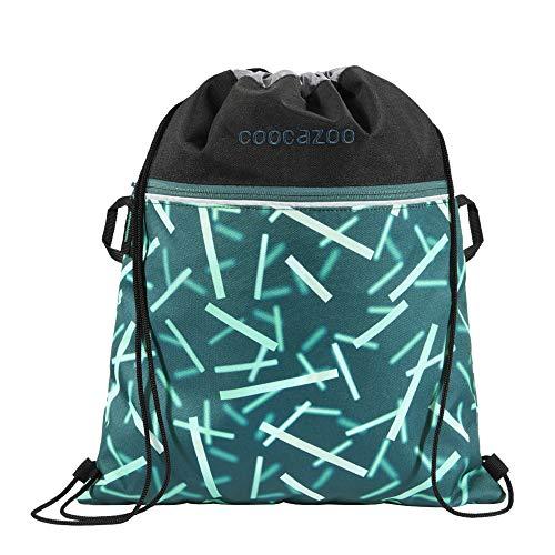 """Coocazoo Sportbeutel RocketPocket """"Cyber Green"""", grün, mit Reißverschlussfach und Kordelzug, reflektierende Elemente, Schlaufen zur Befestigung am Schulrucksack, Jungen ab der 5. Klasse, 10 Liter"""