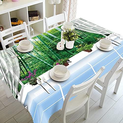 XXDD Mantel 3D Pastoral Verde Bosque Paisaje patrón Mesa de Comedor Lavable Rectangular Mantel A9 150x210cm