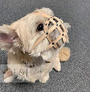 L&J Pets Uk Leather Dog Muzzle for Shih Tzu and other flat face short snout dog's (M2, Natural)