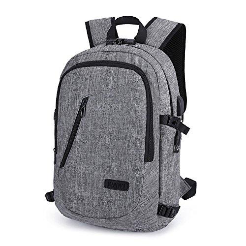 WAWJ Mochila antirrobo Impermeable, Mochila para portátil Multiusos Daypacks con Puerto de Carga USB (Gris)