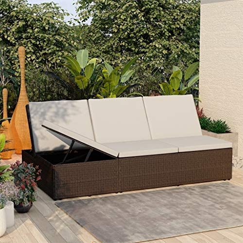 LUSHAZER Sun Lounger with Cushion Outdoor Garden Patio Poolside Chaise Lounger Chair Seat Relaxing Daybed Sunbed Furniture Poly Rattan Brown