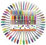 48 Gel Penne Set ,Le migliori per album da colorare per adulti, biglietti, libri, album, disegno, arti grafiche, schizzi - Set colori di qualità, Pacchetto Assortito Neon, Metallici, Pastello, Gitter,1.0MM