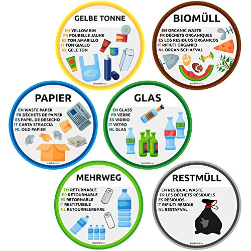 trashnice Mülltrennung Aufkleber 6er Pack mehrsprachig Mülltonne Abfalleimer Set Abfall Abfalleimer-Aufkleber 95 mm, Gelbe Tonne, Biomüll, Papier, Glas, Mehrweg und Restmüll