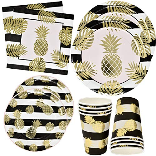 Pineapple with Gold Foil Party Supplies Set 24 9' Plates 24 7' Plates 24 9 Oz Cups 50 Luncheon Napkins Birthday Paper Wedding Disposable Decorations Dinnerware Party Summer Set Pack by Gift Boutique