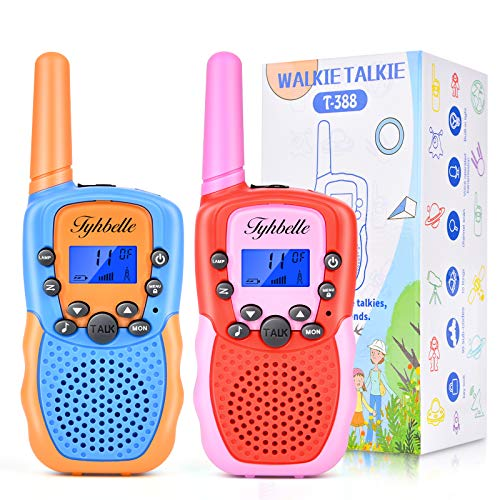 Walkie Talkies for Kids, 22 Channels 3 Mile Range 2 Way Radio Kid Toy Gift to Boys and Girls for Outside Camping Adventure (Blue Orange+Red Pink)
