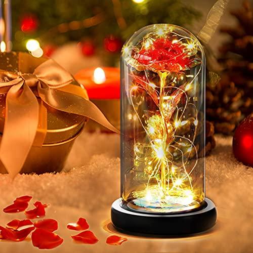 Gohytal Rosa Bella y Bestia, Kit de Rosas, Rosas Eterna Encantada Cúpula de Cristal con Base Luz LED Originales Regalo Romántico para Mujer Día de San Valentín Madre Bodas Cumpleaños Aniversario