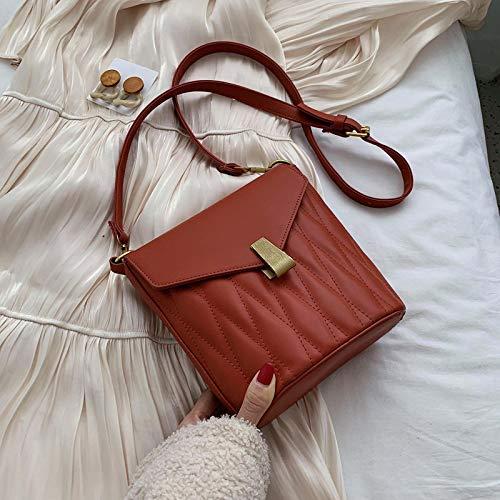 jinda Bolso Del Cubo De La Moda Salvaje Del Bolso Del Mensajero De La Marea Del Bolso De Las Mujeres 21 cm de largo 11 cm de ancho 28 cm de altura rojo